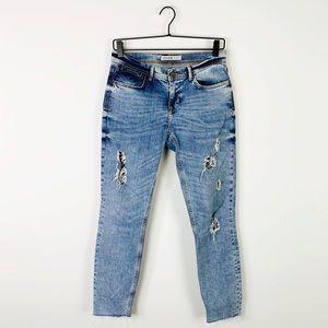 Zara raw hem distressed mid rise boyfriend jeans